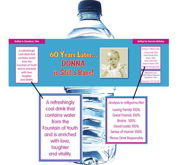 Birthday Babe Theme Photo Water Bottle Label