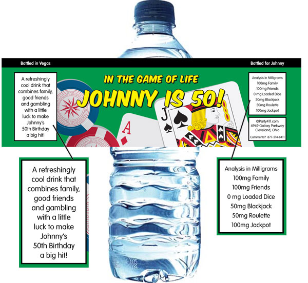 Casino Cards Party Theme Water Bottle Label
