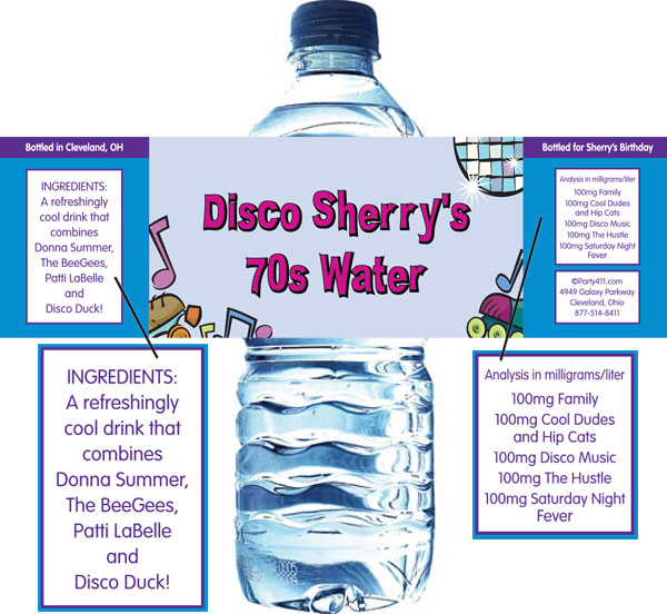 Disco Theme Water Bottle Label