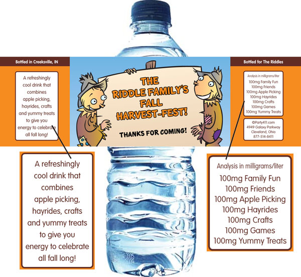 Harvest Party Water Bottle Label