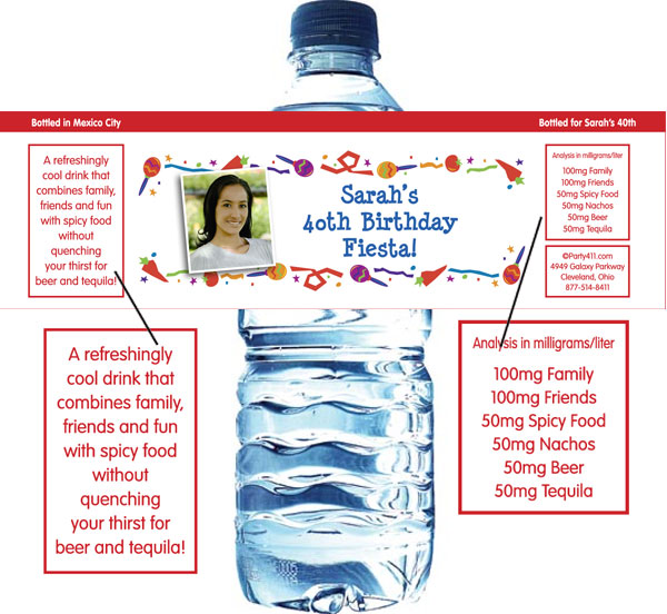 Fiesta Party Theme Water Bottle Label