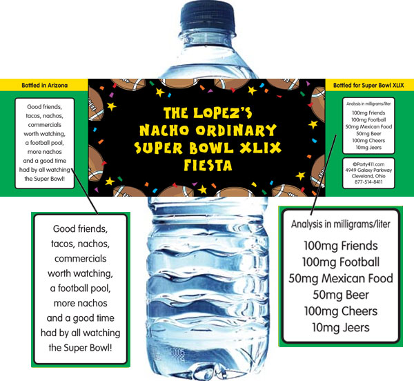 Super Bowl Fiesta Water Bottle Label