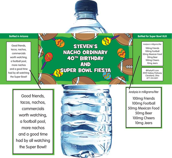 Football Maracas Water Bottle Label