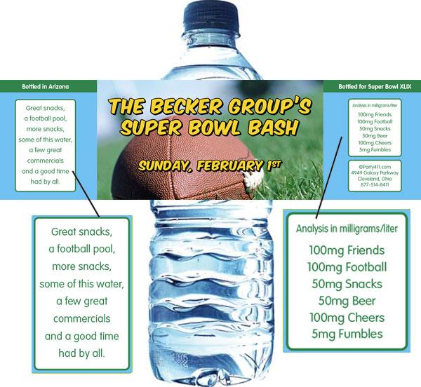 Football Bash Water Bottle Label