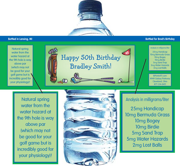 Golf Party Water Bottle Label