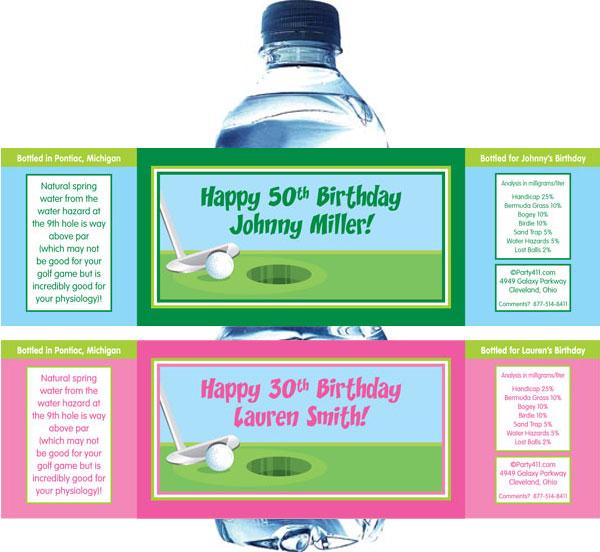 Birthday Golf Water Bottle Label