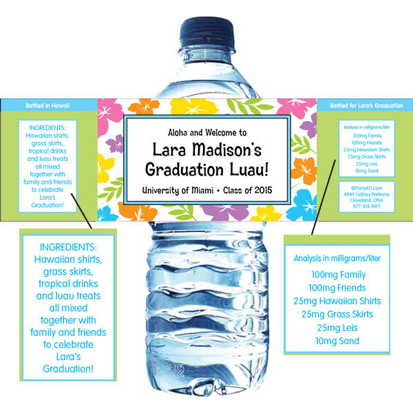 Graduation Luau Hibiscus Theme Water Bottle Label