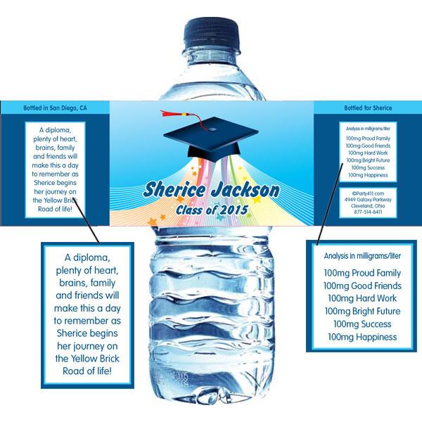 Graduation Land  of Oz Water Bottle Label