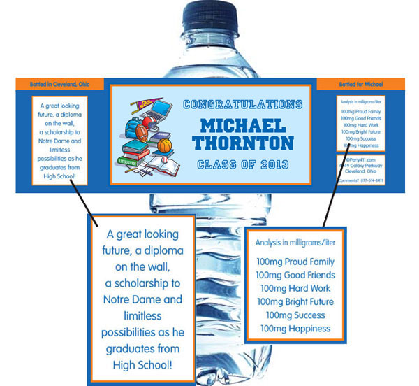 Graduation Sports Theme Water Bottle Label