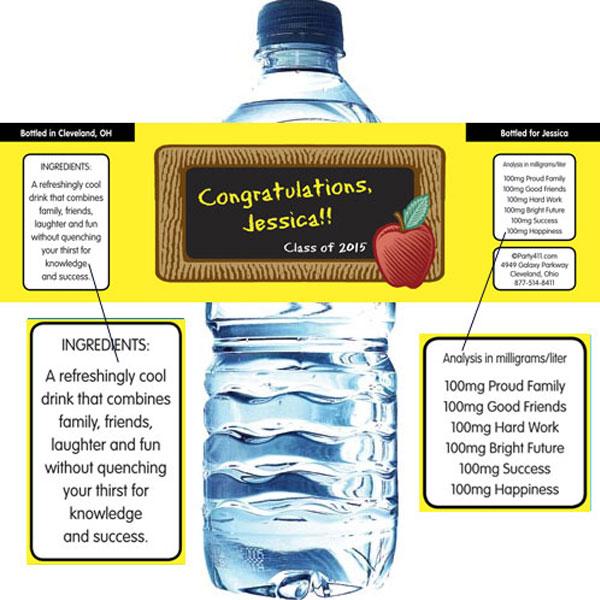 Graduation Party Blackboard Water Bottle Label