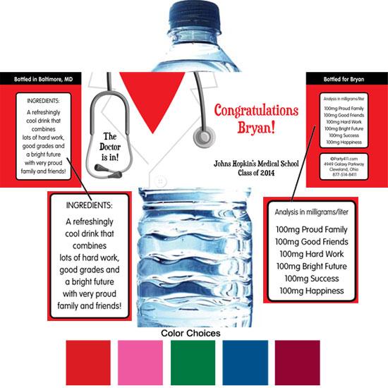 Graduation Doctor's Coat Theme Water Bottle Label
