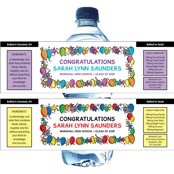 Graduation Balloons Theme Water Bottle Label