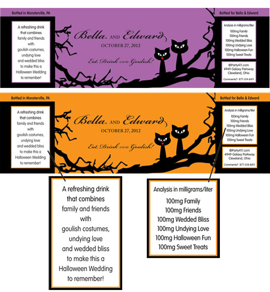 Halloween Wedding Water Bottle Label