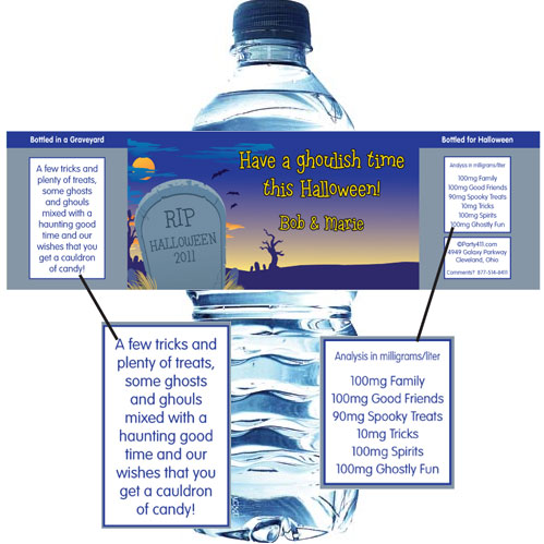 Halloween Graveyard Water Bottle Label