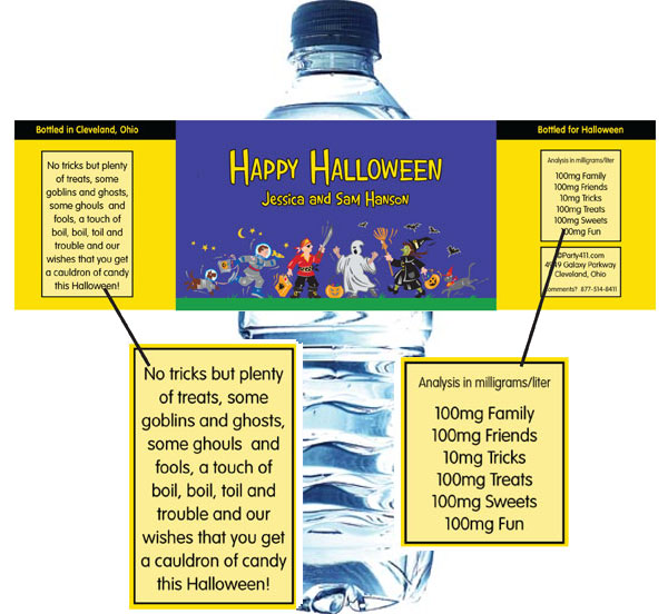 Halloween Kids Trick-or-Treat Theme Water Bottle Label