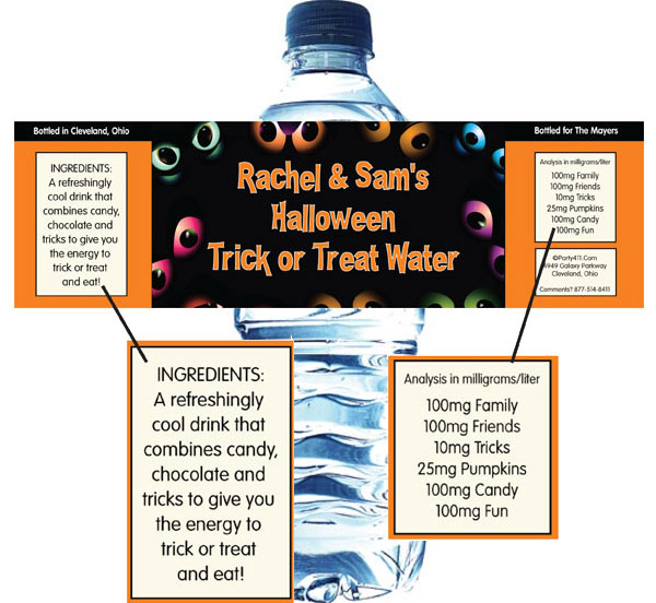 Halloween Eyes Water Bottle Label