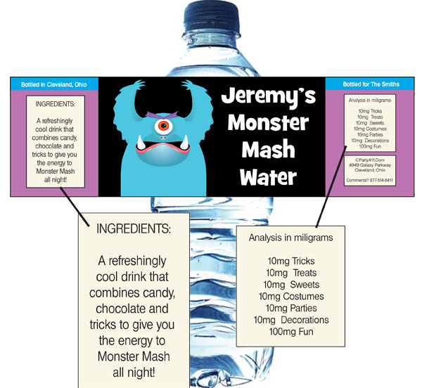 Halloween Monsters Water Bottle Label