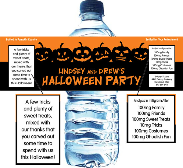 Halloween Jack o Lanterns Theme Bottle Label