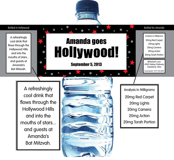 Hollywood Star Water Bottle Label