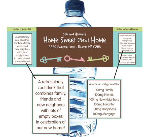 Housewarming Theme Water Bottle Label