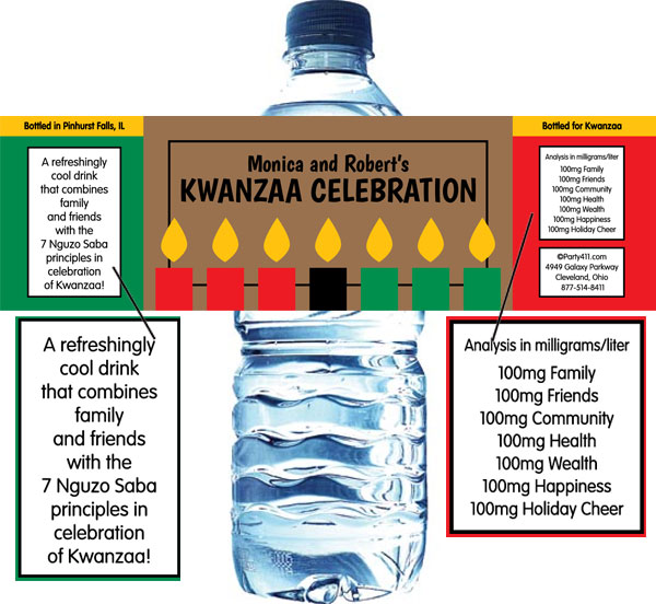 Kwanzaa Kinara Candy Water Bottle Label