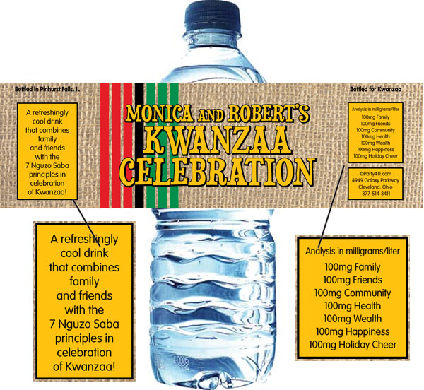 Kwanzaa Party Water Bottle Label