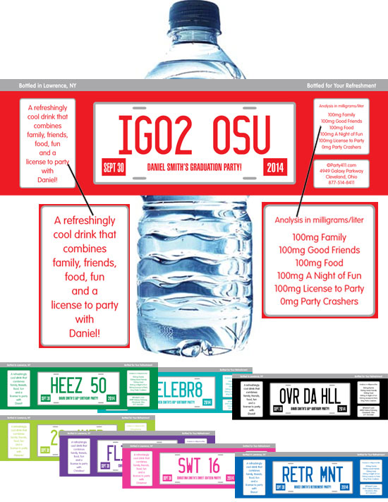 Graduation License Plate Water Bottle Label