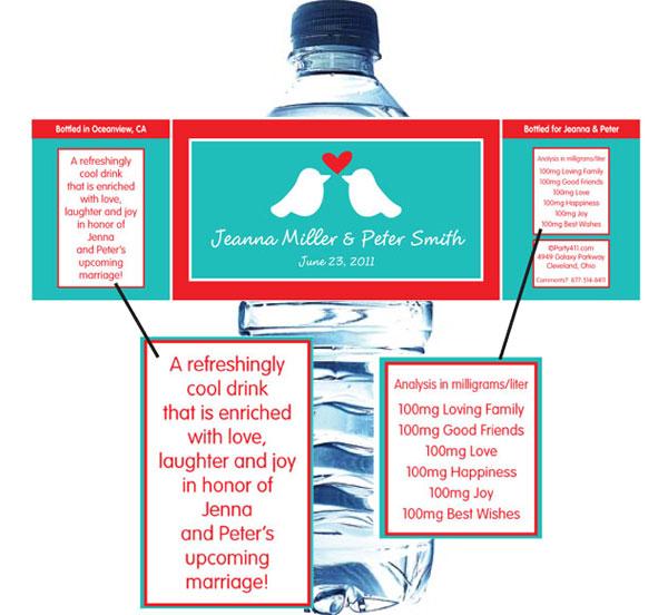 A Lovebirds Water Bottle Label