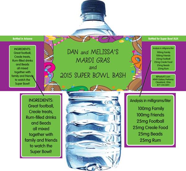 Mardi Gras Super Bowl Water Bottle Label