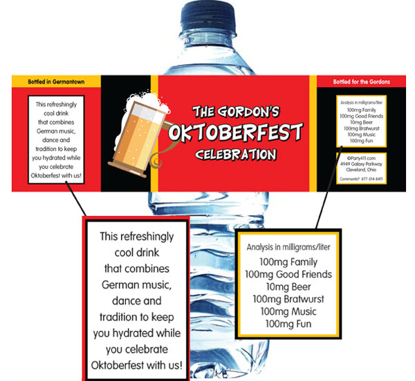 Oktoberfest Flag Water Bottle Label