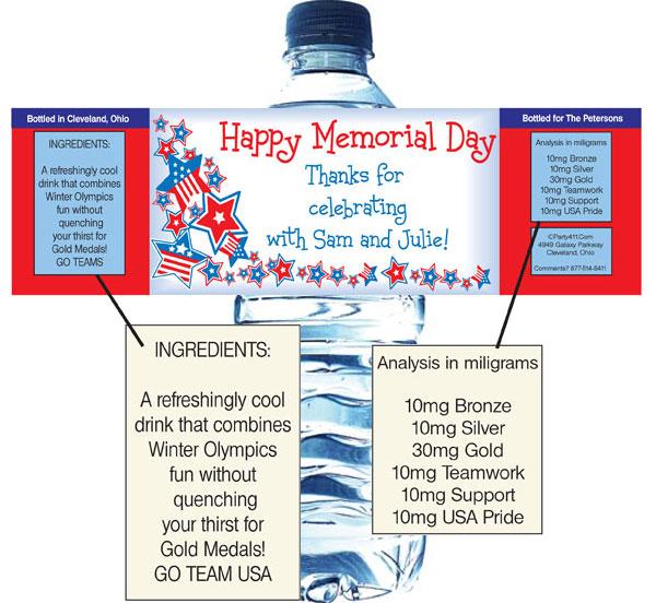 Patriotic Stars Water Bottle Label