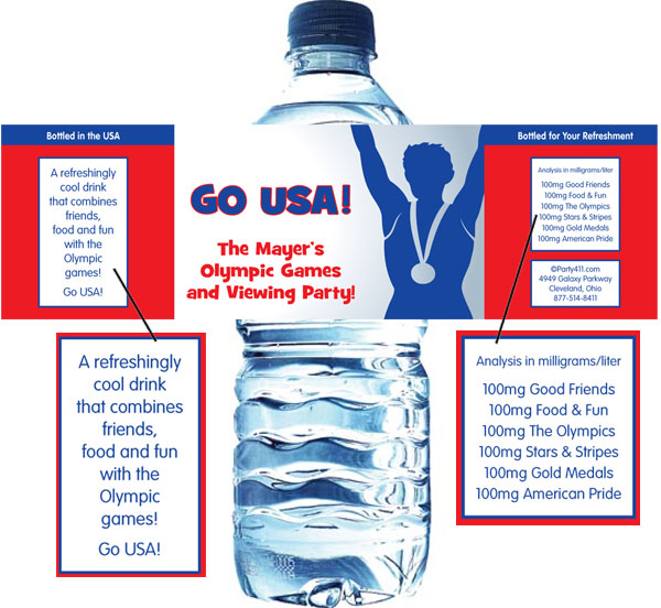 Olympics Water Bottle Label