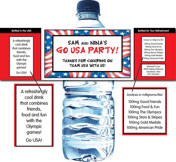 Patriotic Flag Water Bottle Label