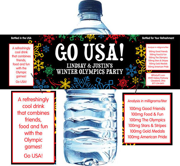 Winter Snowflakes Olympics Water Bottle Label