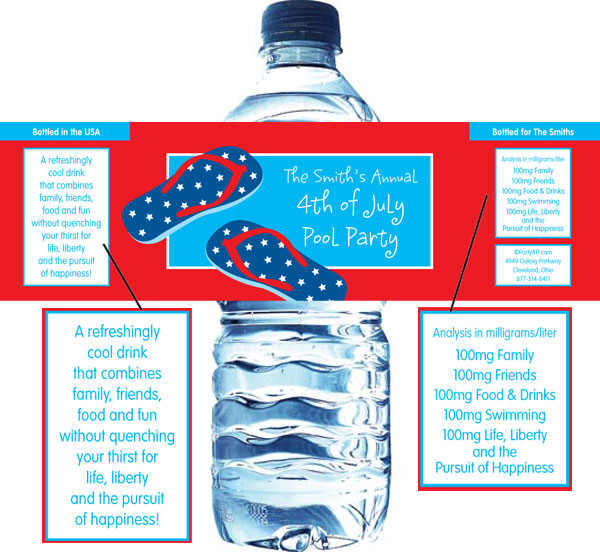 Patriotic Flip Flops Water Bottle Label