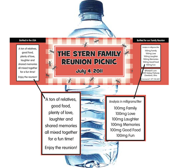 Backyard Picnic Theme Water Bottle Label