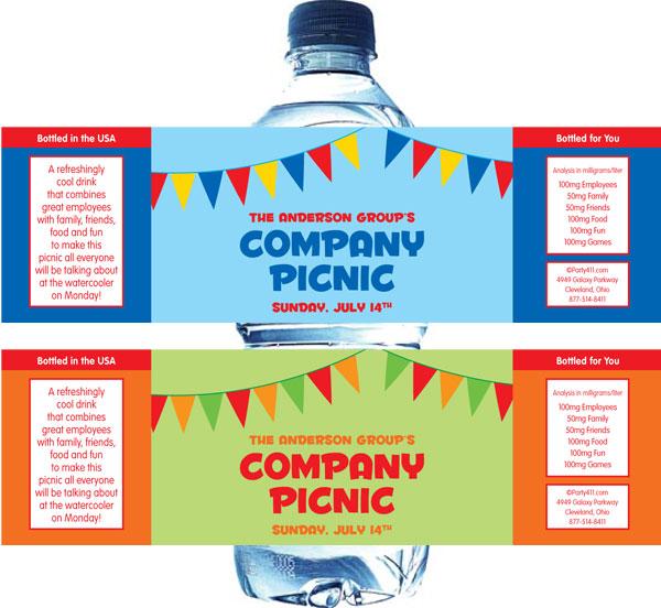 Picnic Theme Water Bottle Label