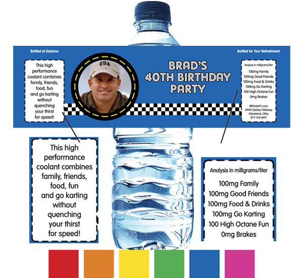 Car Racing Water Bottle Label