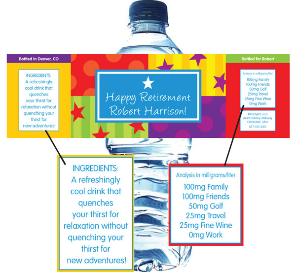 A Retirement Celebration Water Bottle Label