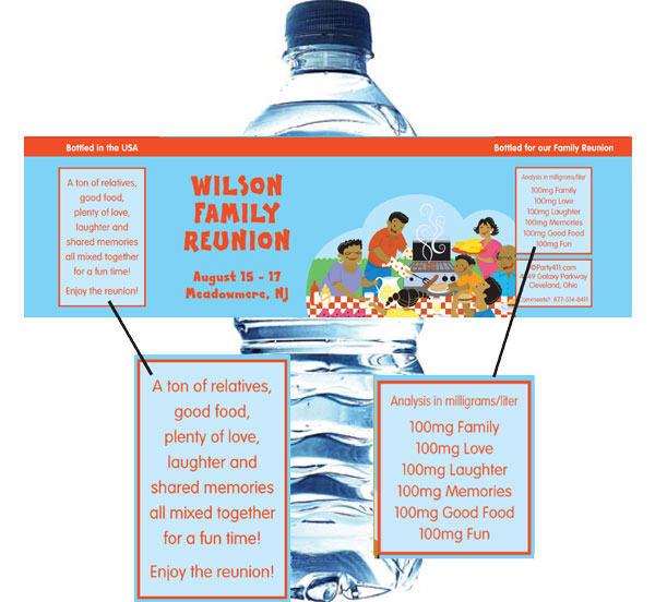 A Family Reunion Water Bottle Label