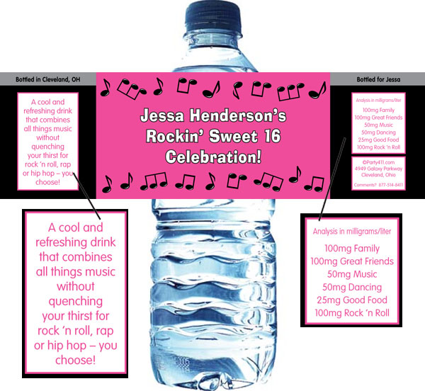 Rock 'n Roll Pink Water Bottle Label