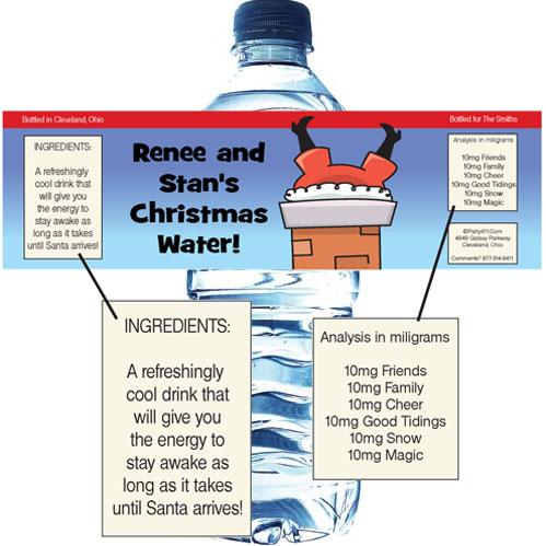 Christmas Santa Oops! Water Bottle Label
