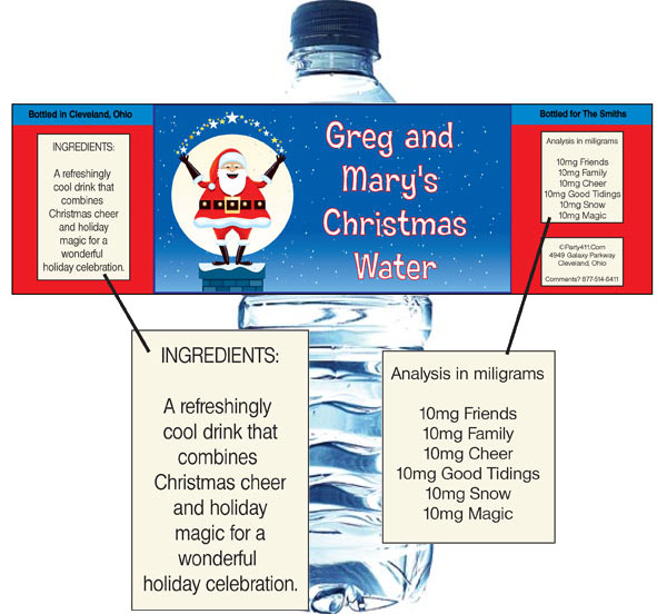 Christmas Santa Magic Water Bottle Label