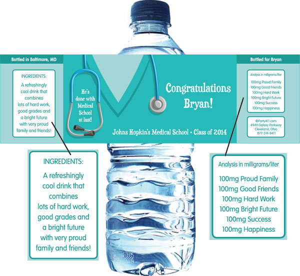 Graduation Scrubs Theme Water Bottle Label