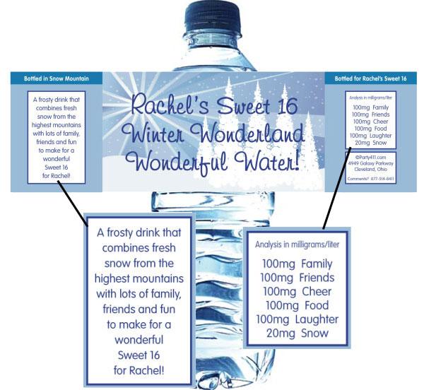 Winter Wonderland Water Bottle Label