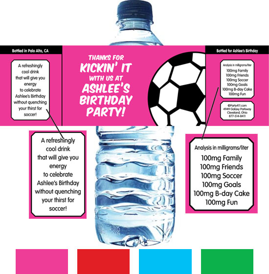 Soccer Girl Water Bottle Label