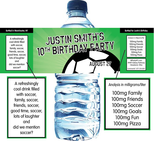 Soccer Ball Party Water Bottle Label