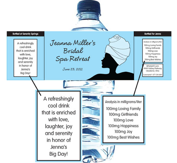 Bridal Spa Water Bottle Label