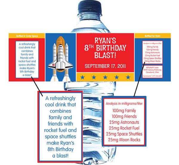 Space Theme Bottle Label