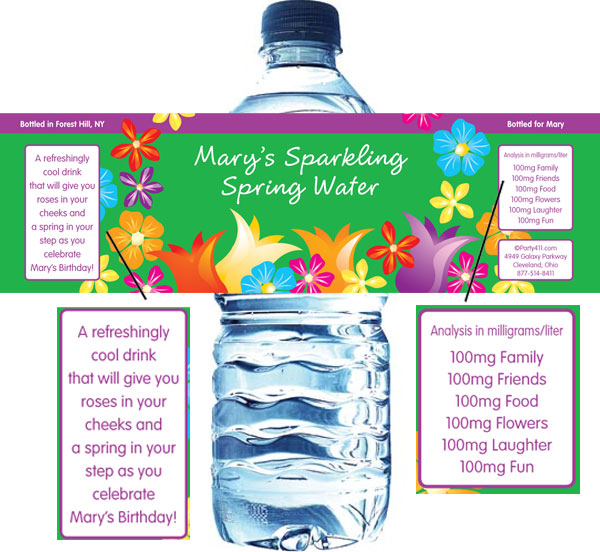 Bright Spring Flowers Water Bottle Label